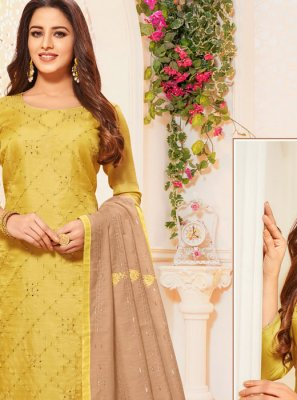 Silk Green Embroidered Designer Salwar Kameez