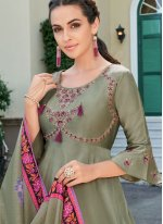 Silk Green Embroidered Readymade Designer Gown