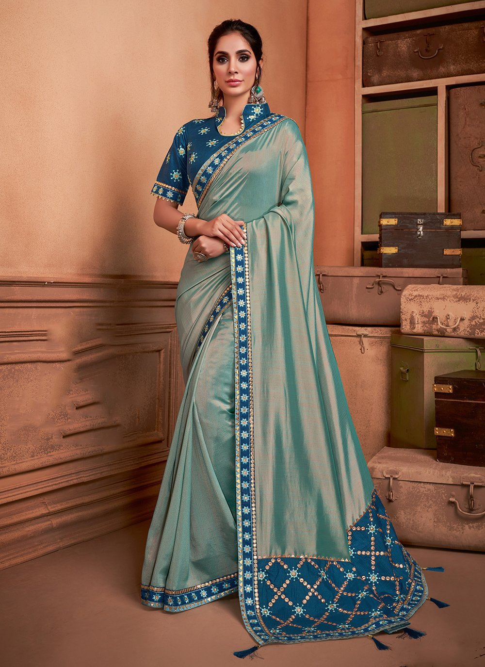 Silk Green Embroidered Trendy Saree