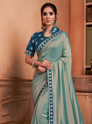Silk Green Embroidered Trendy Saree