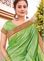 Silk Green Handwork Classic Designer Saree