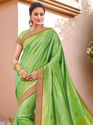 Silk Green Handwork Classic Designer Saree