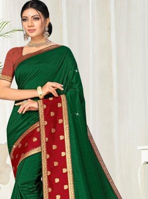 Silk Green Lace Traditional Saree