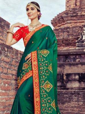 Silk Green Resham Saree