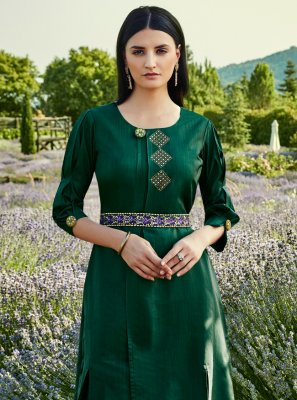 Silk Green Stone Readymade Gown