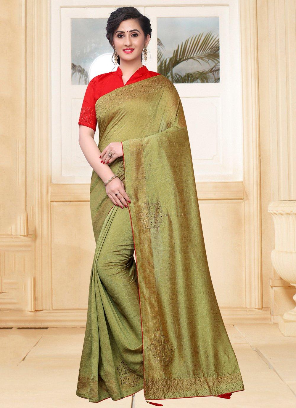 Silk Green Stone Traditional Saree