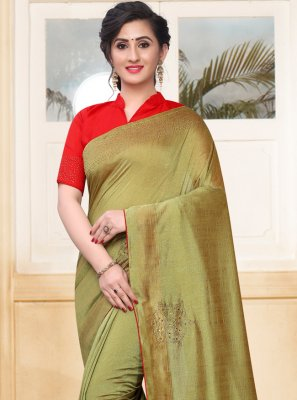 Silk Green Stone Traditional Saree