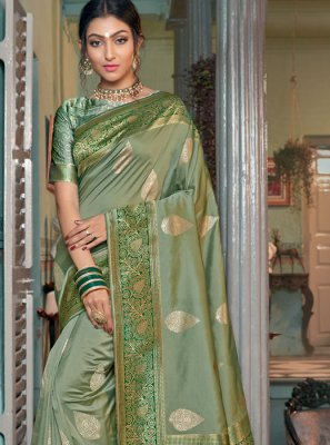 Silk Green Weaving Classic Saree