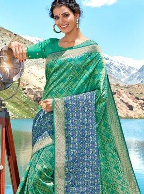 Silk Green Weaving Classic Saree