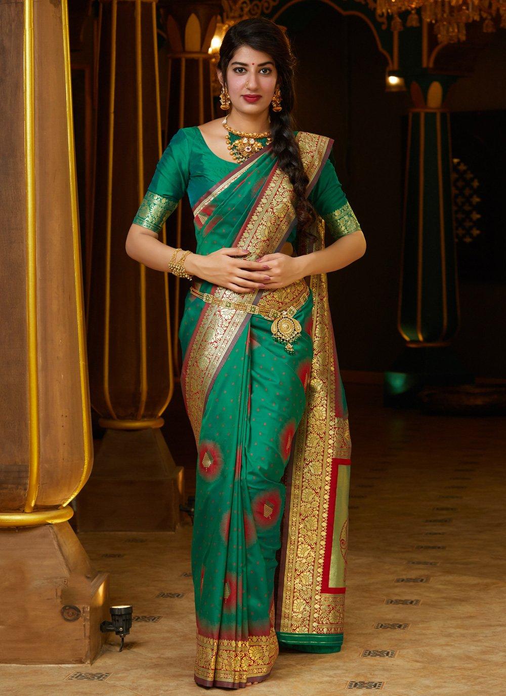 Silk Green Weaving Contemporary Saree