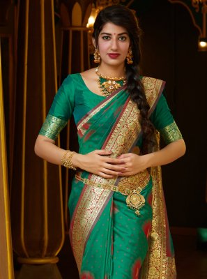 Silk Green Weaving Contemporary Saree