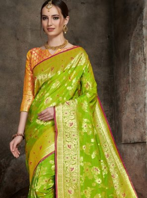 Silk Green Weaving Designer Saree