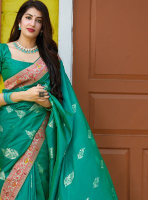 Silk Green Weaving Traditional Saree