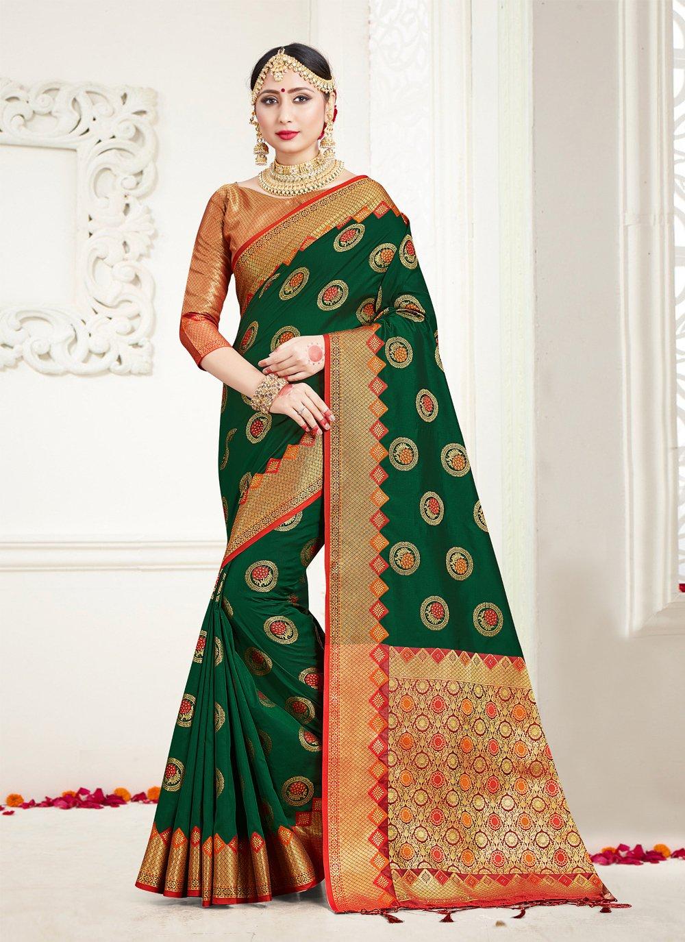 Silk Green Weaving Trendy Saree