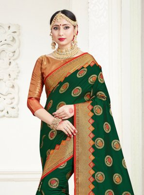 Silk Green Weaving Trendy Saree