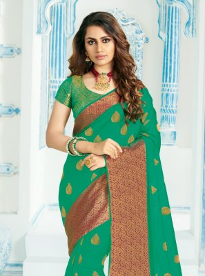 Silk Green Woven Trendy Saree