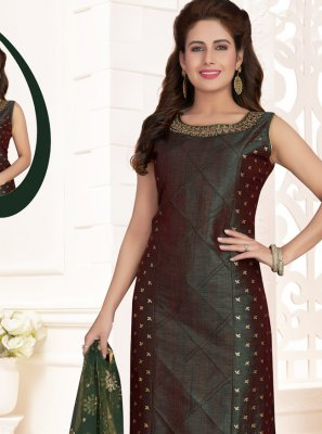 Silk Green Zari Salwar Suit
