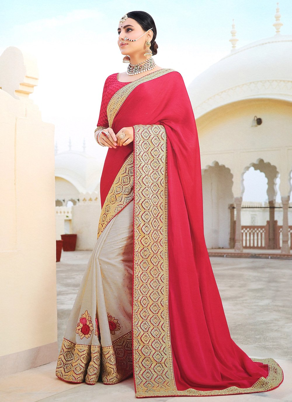 Silk Grey and Red Silk Saree