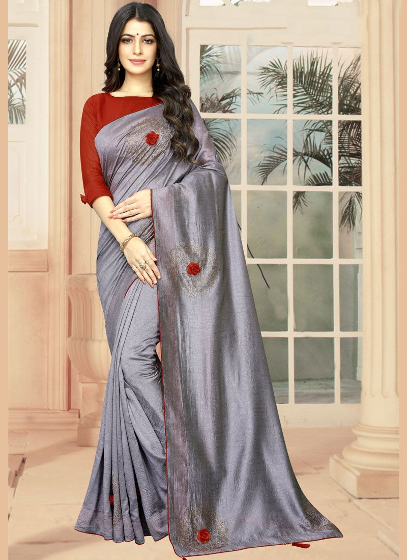 Silk Grey Casual Saree