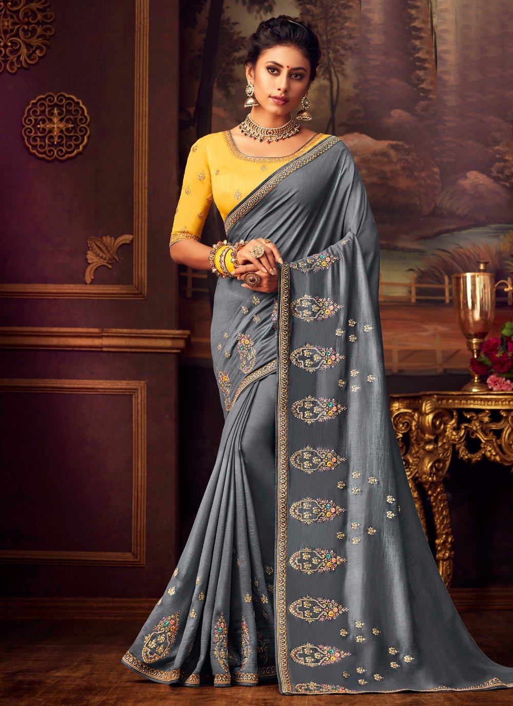 Silk Grey Designer Saree