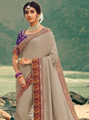 Silk Grey Designer Saree