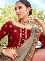Silk Grey Embroidered Classic Saree