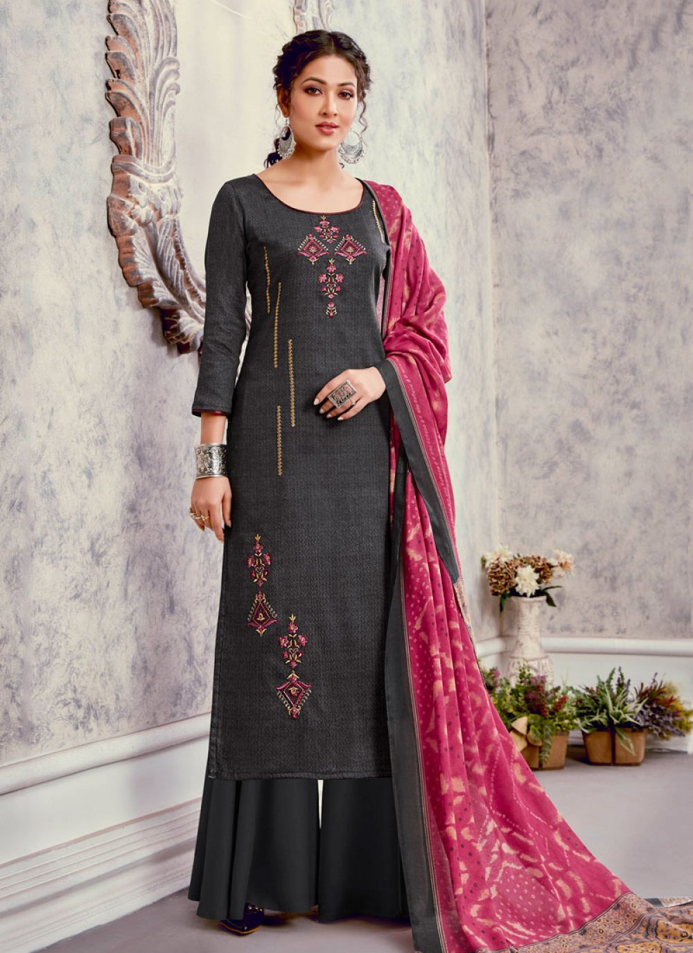 Silk Grey Embroidered Palazzo Suit