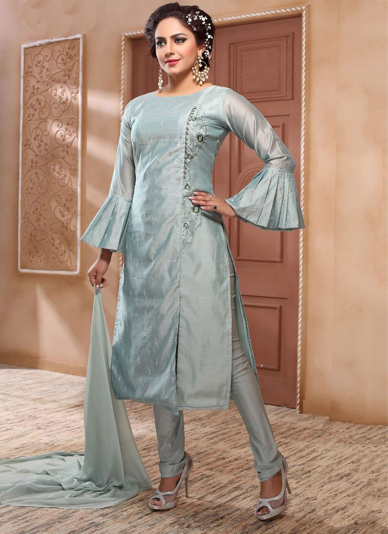 Silk Grey Embroidered Salwar Suit