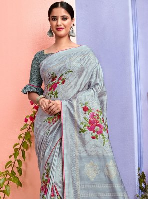 Silk Grey Printed Saree