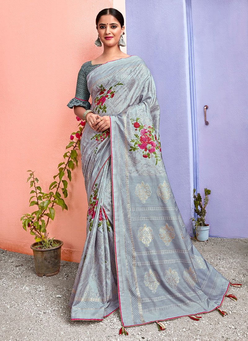 Silk Grey Printed Saree