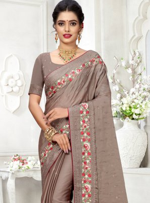Silk Grey Trendy Saree