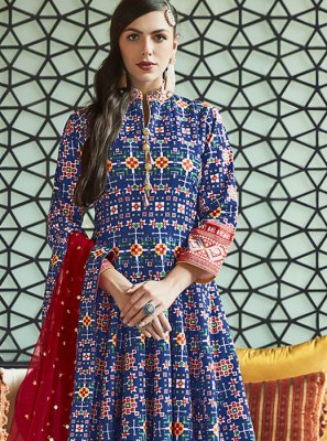 Silk Handwork Blue Anarkali Suit