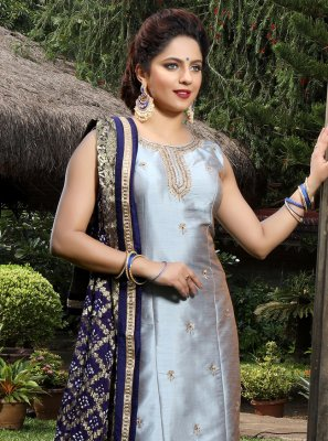 Silk Handwork Grey Salwar Suit