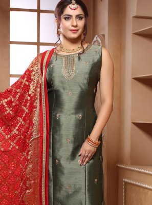 Silk Handwork Grey Trendy Salwar Kameez