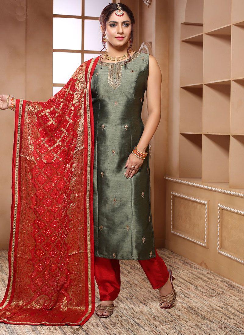 Silk Handwork Grey Trendy Salwar Kameez