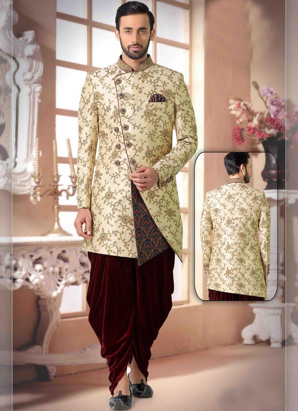 Silk Handwork Indo Western in Cream