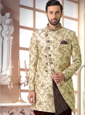 Silk Handwork Indo Western in Cream