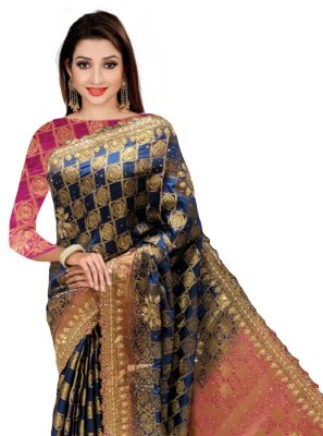 Silk Handwork Navy Blue Classic Designer Saree