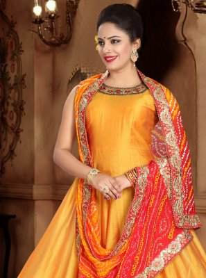 Silk Handwork Orange Designer Gown