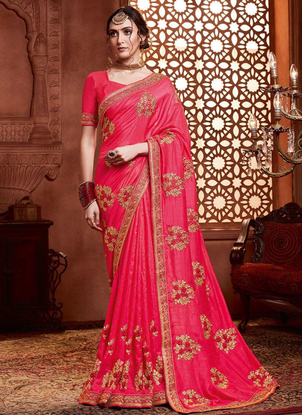 Silk Hot Pink Classic Saree