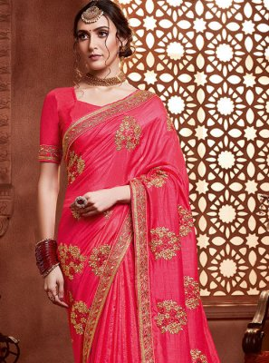 Silk Hot Pink Classic Saree