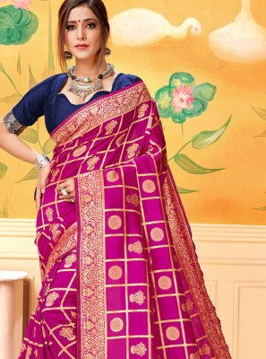 Silk Hot Pink Silk Saree