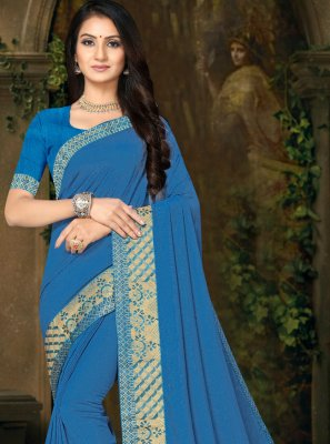 Silk Lace Blue Casual Saree