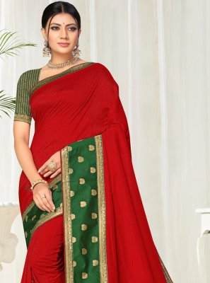Silk Lace Casual Saree in Red
