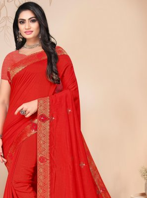 Silk Lace Red Classic Saree