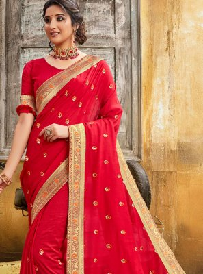 Silk Lace Red Silk Saree
