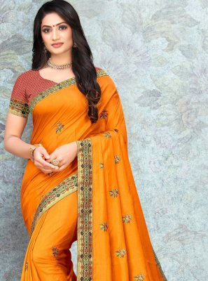 Silk Lace Yellow Trendy Saree