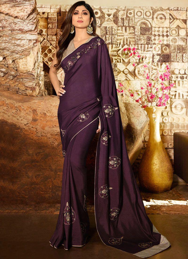 Silk Lavender Trendy Saree