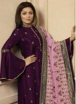Silk Magenta Designer Palazzo Suit