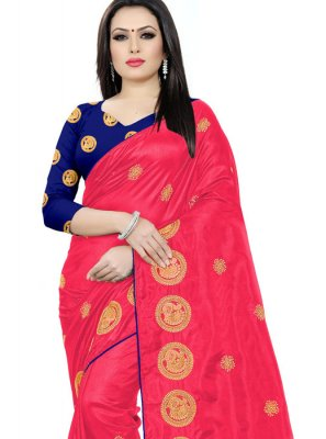 Silk Magenta Embroidered Classic Saree